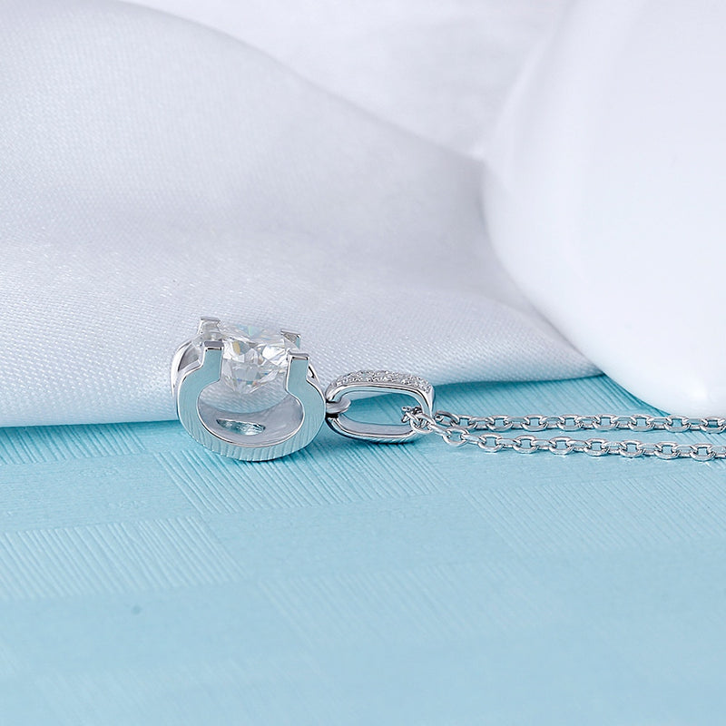 Moissanite Necklace Platinum Plated Silver 1.04ct Total