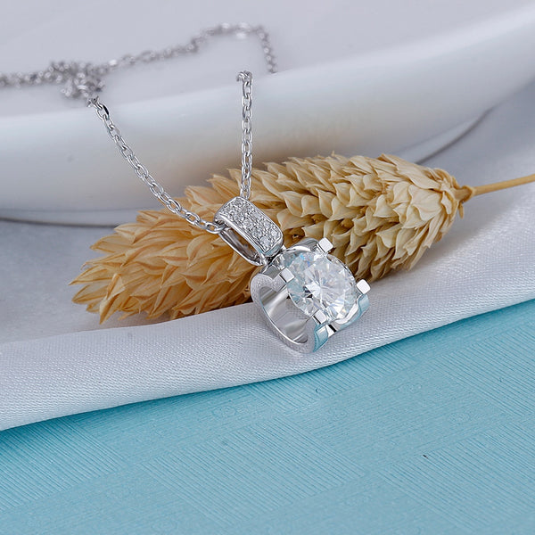 Moissanite Necklace Platinum Plated Silver 1.04 Carat Total