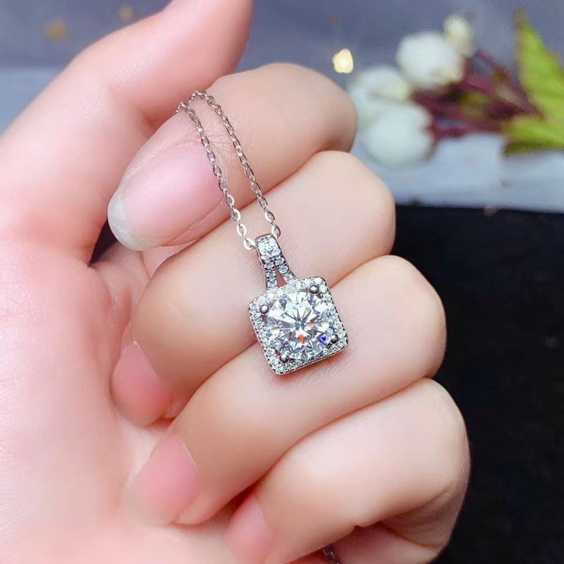 Platinum Plated Silver Moissanite Halo Necklace 1 & 2 Carat Options - Moissanite Engagement Rings & Jewelry | Luxus Moissanite