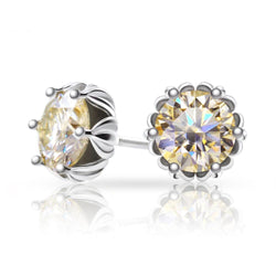 Champagne Moissanite Stud Earrings Platinum Plated 925 Silver 1.2ctw