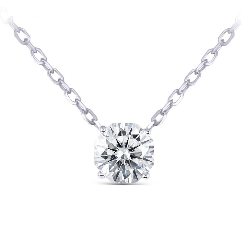 14k White Gold Octagon Cut Moissanite Necklace 1ct - Moissanite Engagement Rings & Jewelry | Luxus Moissanite
