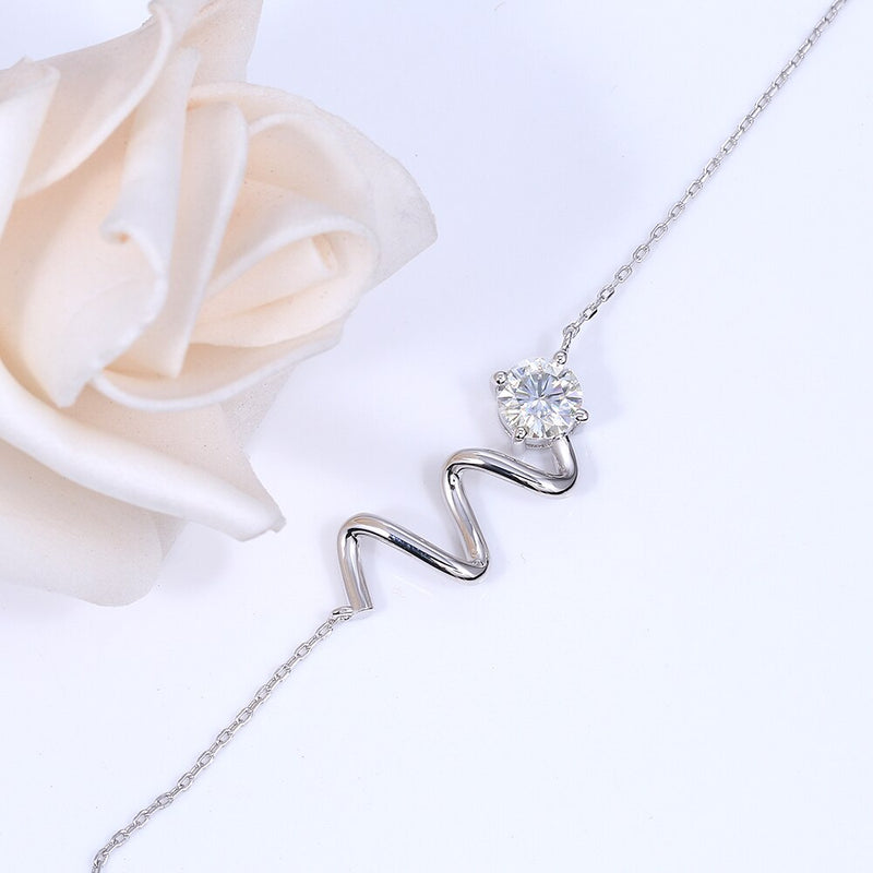 14k White Gold Wavy Moissanite Necklace 1ct