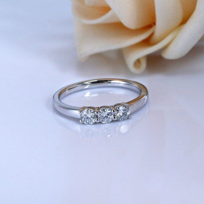 Platinum Plated Silver 3 Stone Moissanite Ring 0.75ct Total - Moissanite Engagement Rings & Jewelry | Luxus Moissanite