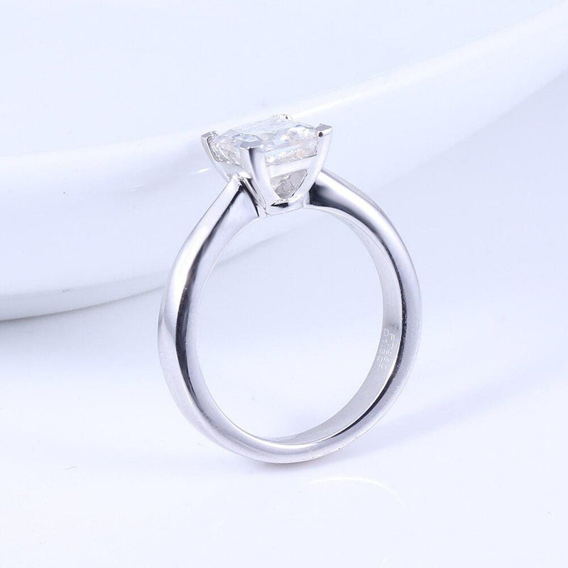 14k White Gold or Silver Princess Cut Moissanite Ring 1.3ct - Moissanite Engagement Rings & Jewelry | Luxus Moissanite