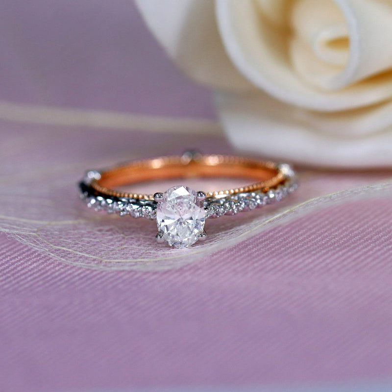 14k White & Rose Gold Moissanite Ring 0.6ct Center Stone