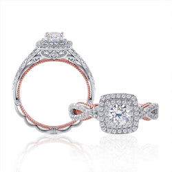 14k Rose & White Gold Double Halo Moissanite Ring 0.85ct Total