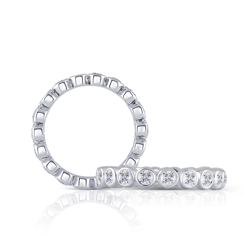 14k White Gold Moissanite Eternity Ring 1.08ct Total