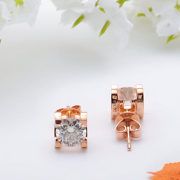 18k Rose Gold Stud Moissanite Earrings 1.6ct Total - Moissanite Engagement Rings & Jewelry | Luxus Moissanite
