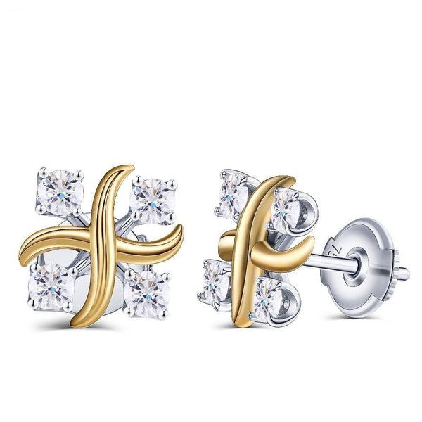 14k White & Yellow Gold Moissanite Stud Earrings 0.56ct Total - Moissanite Engagement Rings & Jewelry | Luxus Moissanite