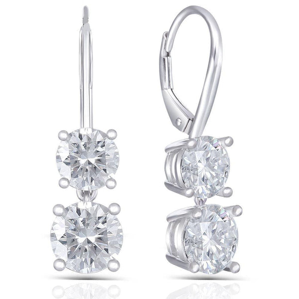 14k White Gold Hoop / Drop Moissanite Earrings 2ct Total - Moissanite Engagement Rings & Jewelry | Luxus Moissanite