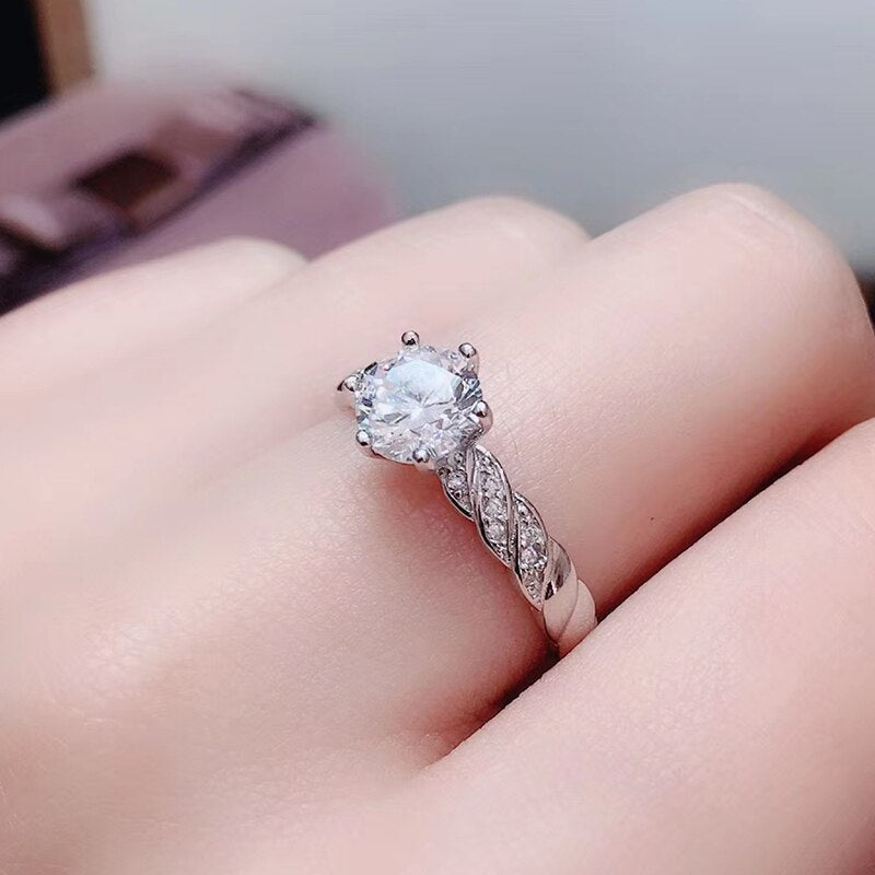 White Gold Plated Silver Moissanite Ring 1ct Center Stone