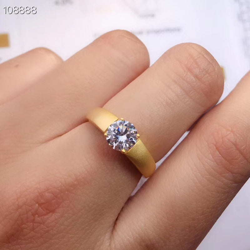 Resizable White or Yellow Gold Solitaire Moissanite Ring 1ct