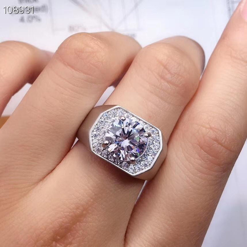 Resizable White or Yellow Gold Plated Halo Moissanite Ring 3ct Stone - Moissanite Engagement Rings & Jewelry | Luxus Moissanite