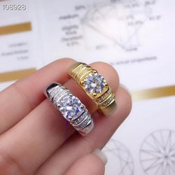 Resizable White Or Yellow Gold Plated Moissanite Rings 1ct Stone - Moissanite Engagement Rings & Jewelry | Luxus Moissanite
