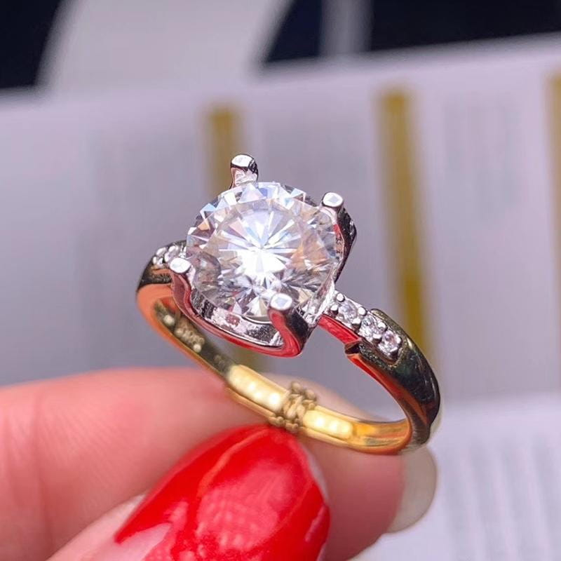 White & Yellow Gold Plated Silver Moissanite Ring 1ct Center Stone - Moissanite Engagement Rings & Jewelry | Luxus Moissanite
