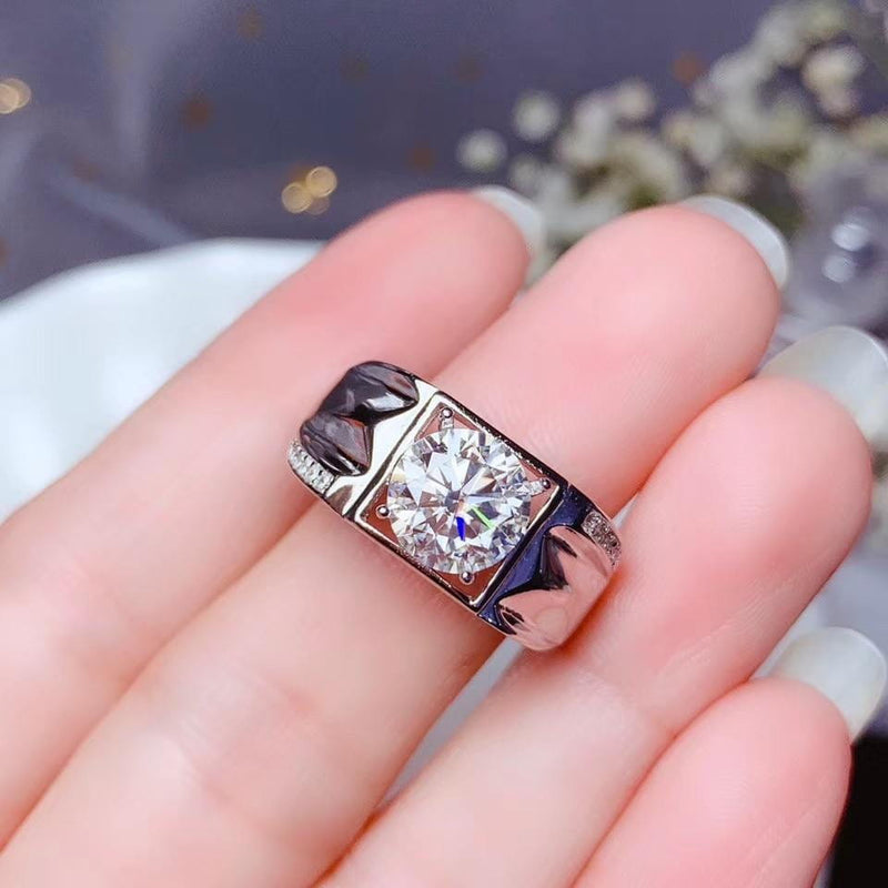 White Gold Plated Silver Wide Band Moissanite Ring 1ct, 2ct Options - Moissanite Engagement Rings & Jewelry | Luxus Moissanite
