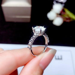 White Gold Plated Silver Vintage Moissanite Ring 0.5ct - 3ct Options - Moissanite Engagement Rings & Jewelry | Luxus Moissanite