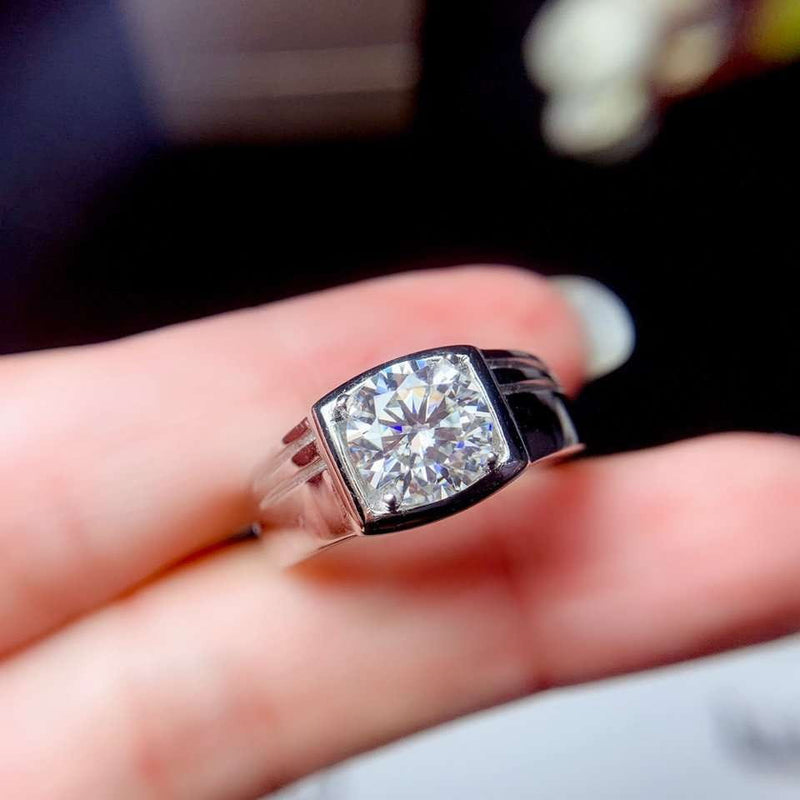 White Gold Plated Silver Wide Band Moissanite Ring 0.5ct - 3ct Options - Moissanite Engagement Rings & Jewelry | Luxus Moissanite
