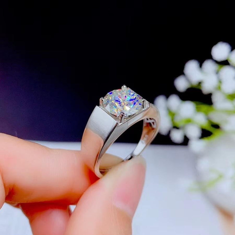 White Gold Plated Silver Wide Band Moissanite Ring 1ct, 2ct, 3ct Options - Moissanite Engagement Rings & Jewelry | Luxus Moissanite
