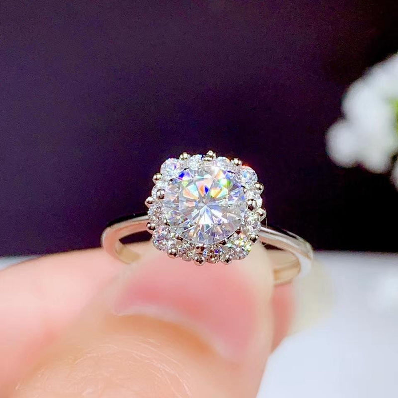 White Gold Plated Silver Halo Moissanite Ring 1ct Center Stone - Moissanite Engagement Rings & Jewelry | Luxus Moissanite