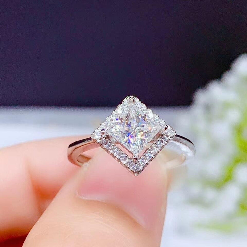 White Gold Plated Princess Cut Halo Moissanite Ring 1ct Center Stone - Moissanite Engagement Rings & Jewelry | Luxus Moissanite