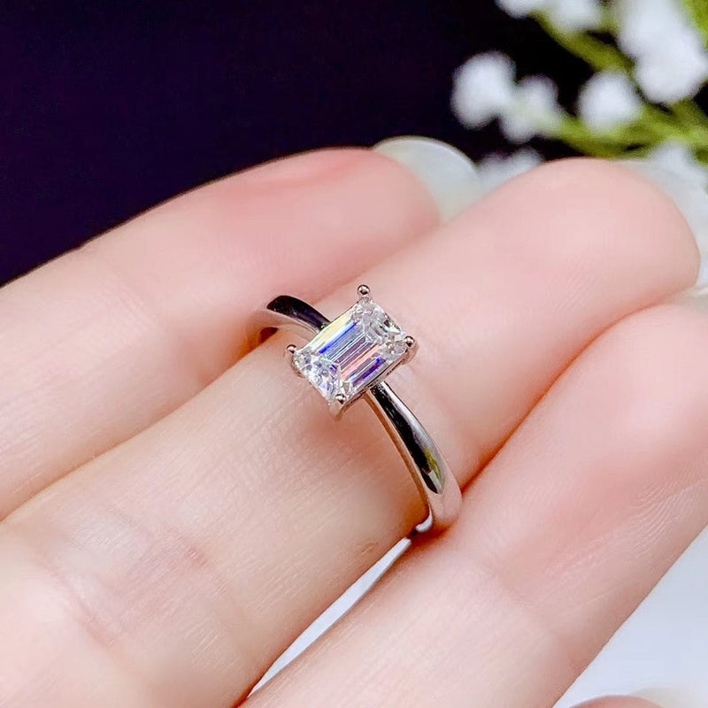 White Gold Plated Silver Emerald Cut Solitaire Moissanite Ring 0.5ct - Moissanite Engagement Rings & Jewelry | Luxus Moissanite