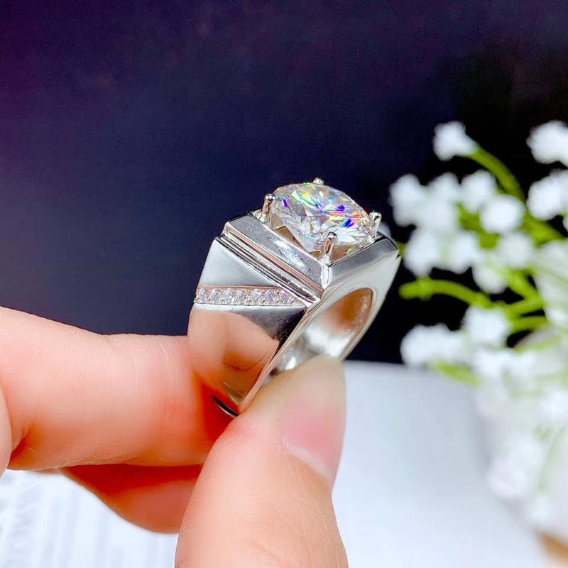 White Gold Plated Silver Wide Band Moissanite Ring 5ct Stone - Moissanite Engagement Rings & Jewelry | Luxus Moissanite