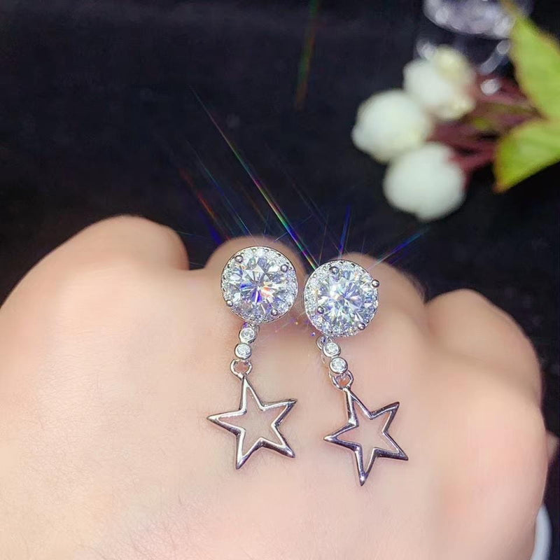Platinum Plated Silver Star Halo Moissanite Earrings 1-2 Carat Options - Moissanite Engagement Rings & Jewelry | Luxus Moissanite