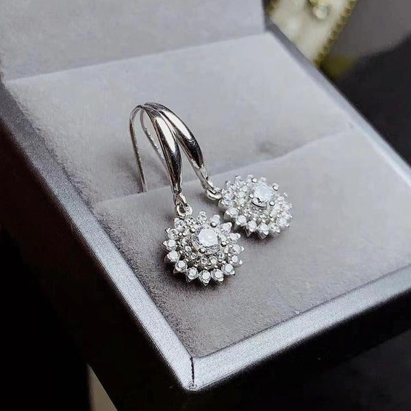 Platinum Plated Silver Double Halo Stud Moissanite Earrings 1.5 Carat Total - Moissanite Engagement Rings & Jewelry | Luxus Moissanite
