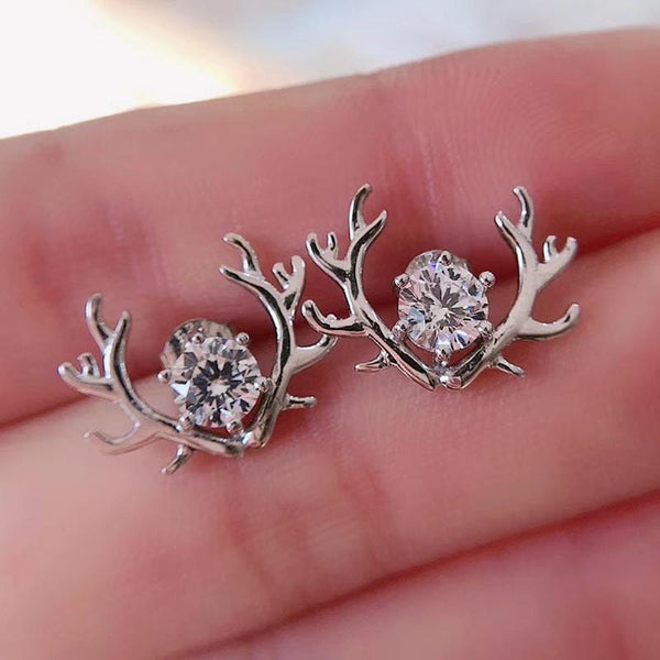 Platinum Plated Silver Deer Moissanite Stud Earrings 1 Carat Total - Moissanite Engagement Rings & Jewelry | Luxus Moissanite