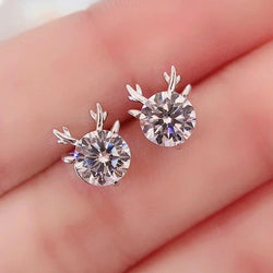 Platinum Plated Silver Deer Moissanite Stud Earrings 2 Carat Total - Moissanite Engagement Rings & Jewelry | Luxus Moissanite