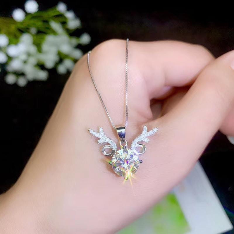 Platinum Plated Silver Deer Moissanite Necklace 1-3 Carat Options - Moissanite Engagement Rings & Jewelry | Luxus Moissanite