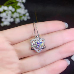 Platinum Plated Silver Moissanite Necklace 2 Carat Center Stone - Moissanite Engagement Rings & Jewelry | Luxus Moissanite