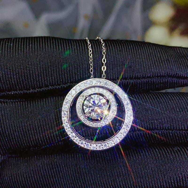Moissanite Necklace Platinum Plated Silver 1 Carat Center Stone - Moissanite Engagement Rings & Jewelry | Luxus Moissanite