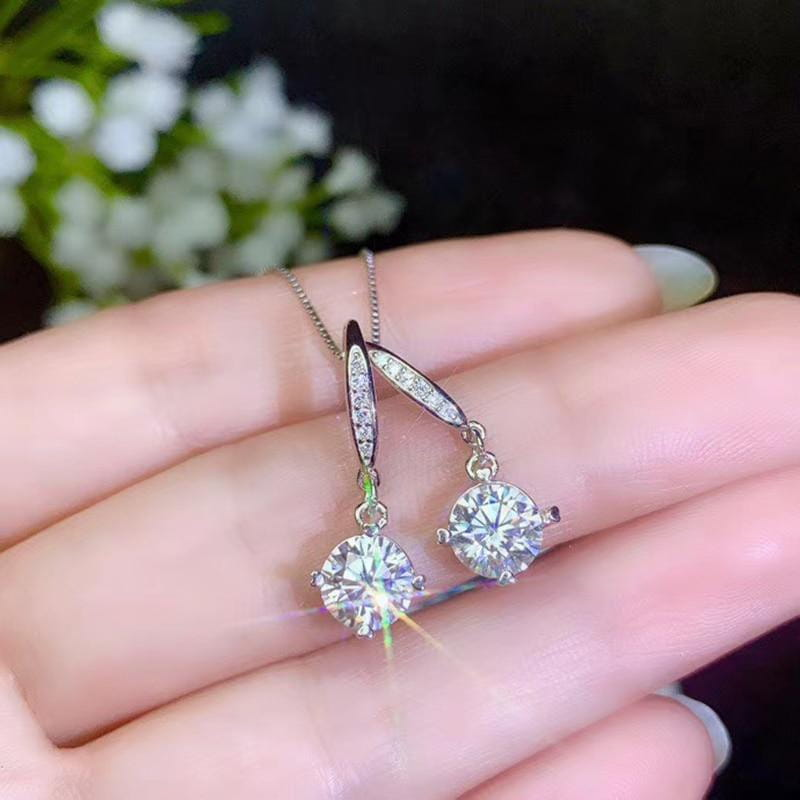 Drop / Dangle Moissanite Earrings Platinum Plated Silver 2 Carat Total - Moissanite Engagement Rings & Jewelry | Luxus Moissanite
