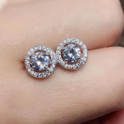 Halo Moissanite Stud Earrings Platinum Plated Silver 1 Carat Total - Moissanite Engagement Rings & Jewelry | Luxus Moissanite