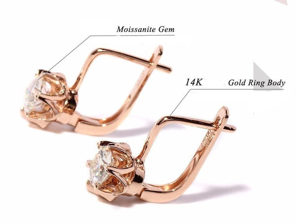 14k Rose Gold U Hoop Moissanite Earrings 1ct Total - Moissanite Engagement Rings & Jewelry | Luxus Moissanite