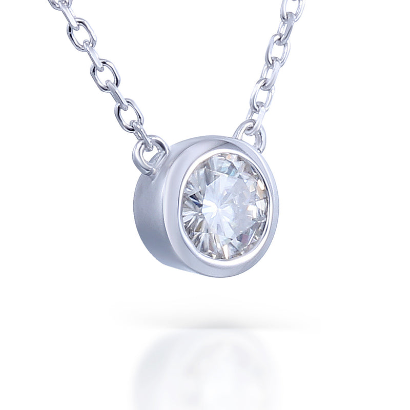 Platinum Plated Silver Bezel Set Moissanite Necklace 1ct