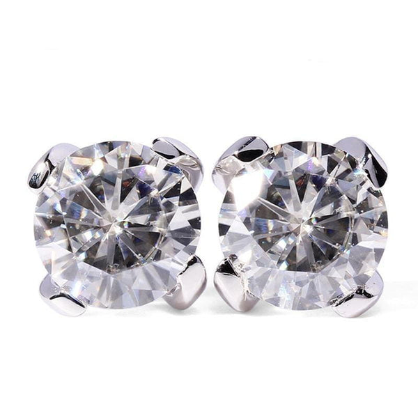 14k White Gold Stud Moissanite Earrings 1 Carat Total - Moissanite Engagement Rings & Jewelry | Luxus Moissanite