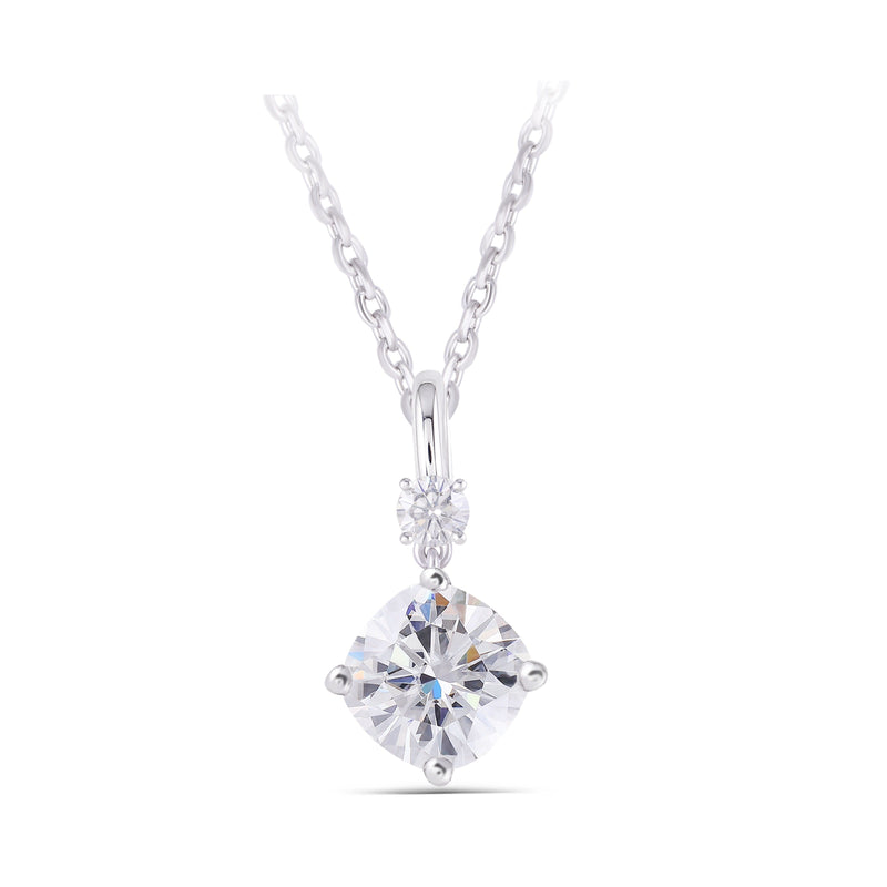 Platinum Plated Silver Moissanite Necklace 2.1ct Total