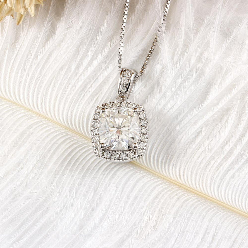Platinum Plated Silver Halo Moissanite Necklace 2.18 Carat Total - Moissanite Engagement Rings & Jewelry | Luxus Moissanite