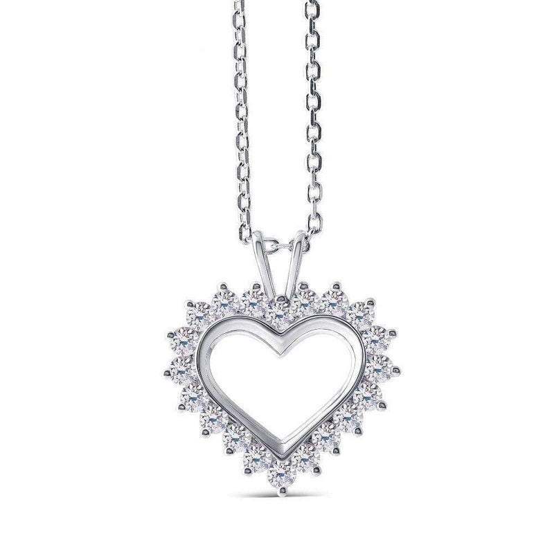 10k White Gold Heart Moissanite Necklace 1.2ct Total - Moissanite Engagement Rings & Jewelry | Luxus Moissanite