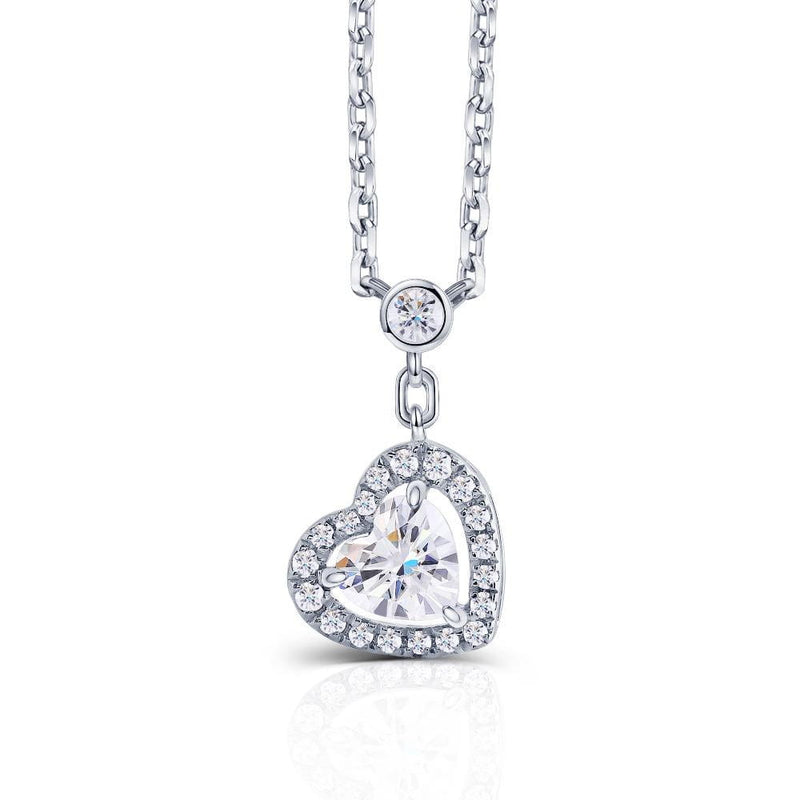 14k White Gold Heart Moissanite Necklace 0.3ct Center Stone - Moissanite Engagement Rings & Jewelry | Luxus Moissanite