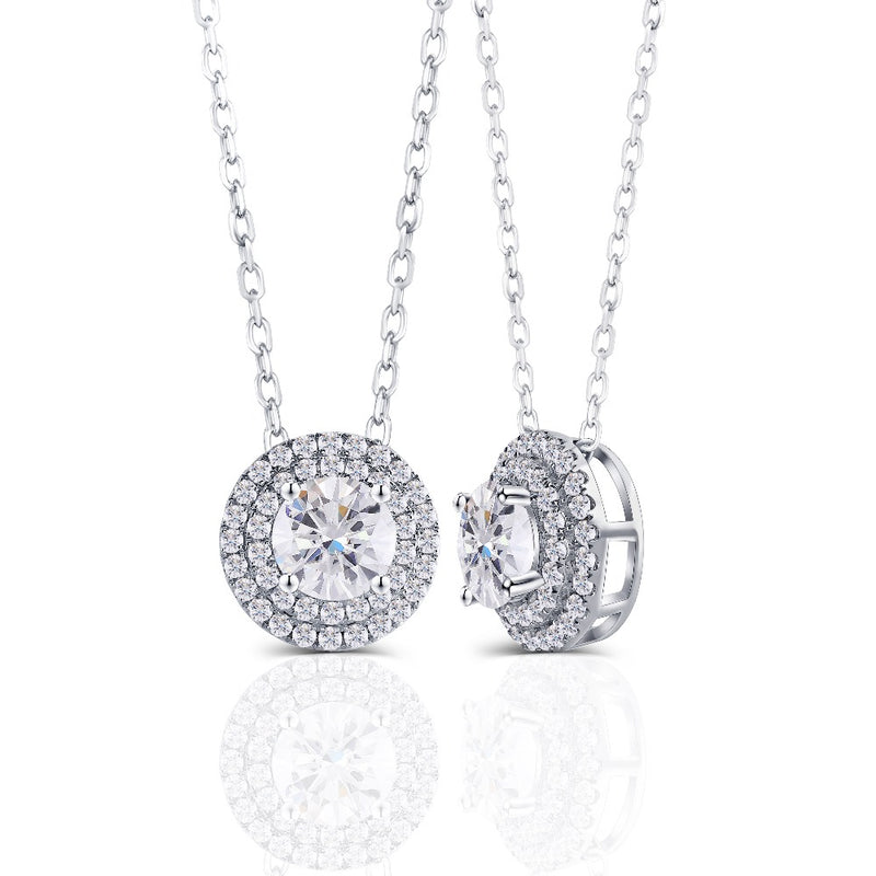 14k White Gold Double Halo Moissanite Necklace / Pendant 1.5 Carat Center Stone