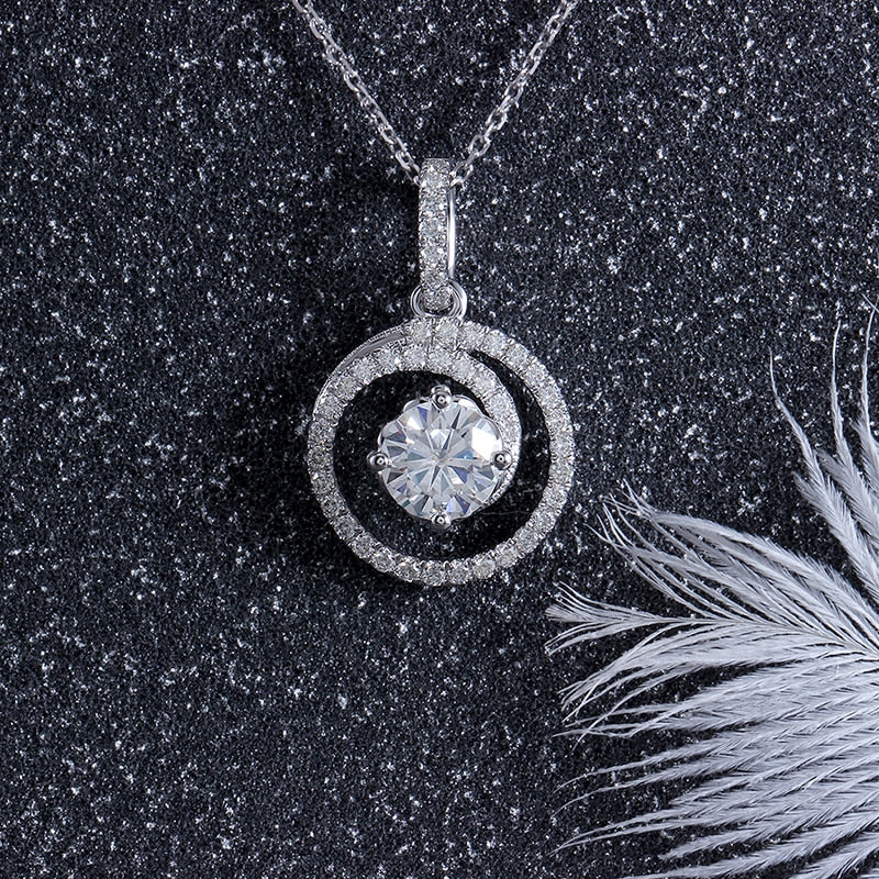 14k White Gold Moissanite Necklace / Pendant 1ct Center Stone