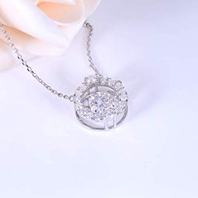 10k White / Yellow / Rose Gold Moissanite Necklace / Pendant 1.5ct Cushion Cut Center Stone