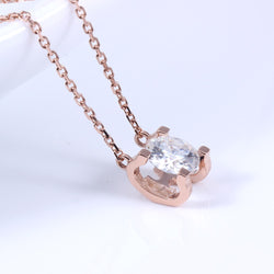 18k Rose Gold Moissanite Necklace 1ct Stone