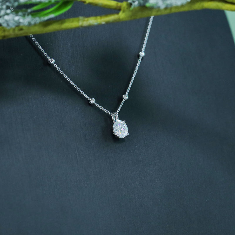 14k White Gold Oval Moissanite Necklace 2ct