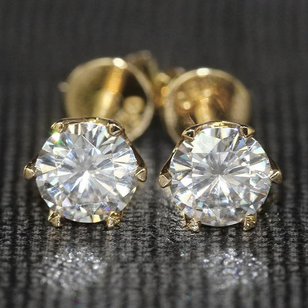 14k Yellow Gold Moissanite Stud Earrings 1 Carat Total - Moissanite Engagement Rings & Jewelry | Luxus Moissanite