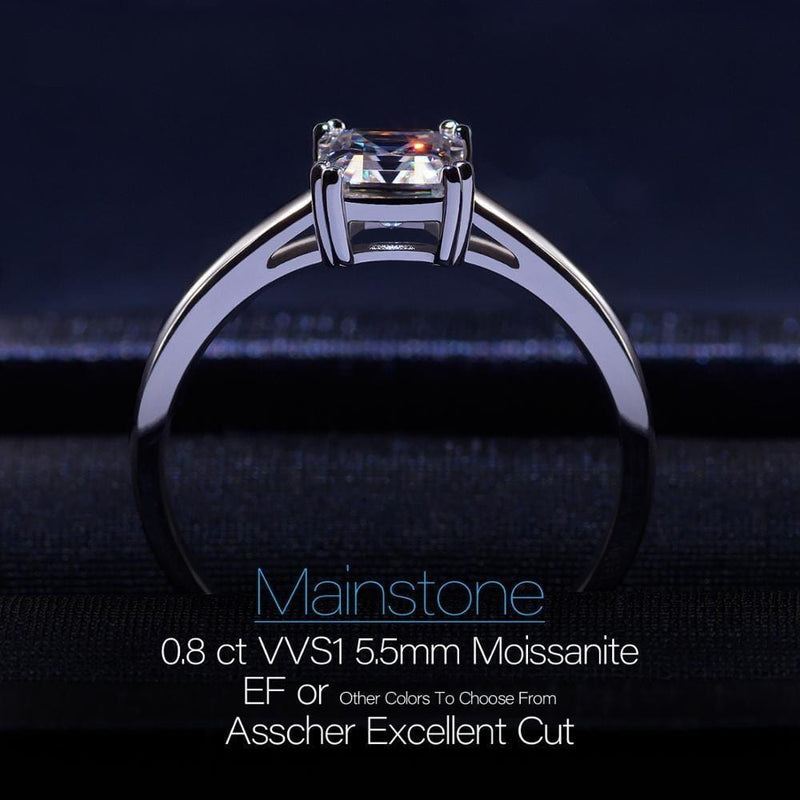 White Gold Plated Silver (multiple color options) Moissanite Ring 0.8ct - Moissanite Engagement Rings & Jewelry | Luxus Moissanite